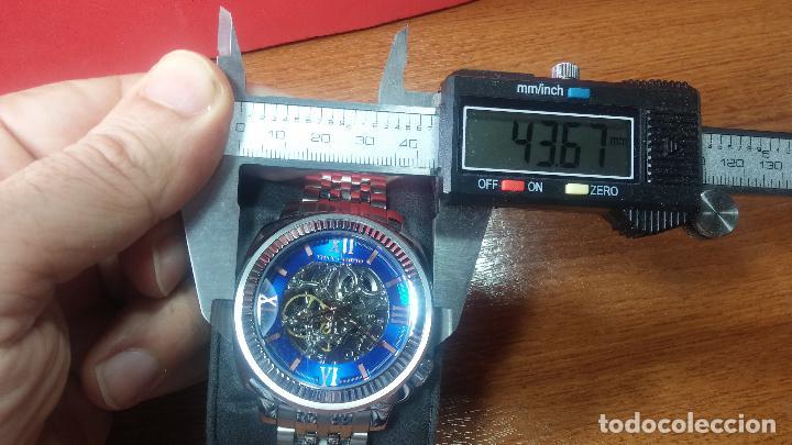 Relojes automáticos: Reloj automático VINCE CAMUTO Skeleton de caballero, preciosa esfera azul marino, de reestreno. - Foto 5 - 108882983