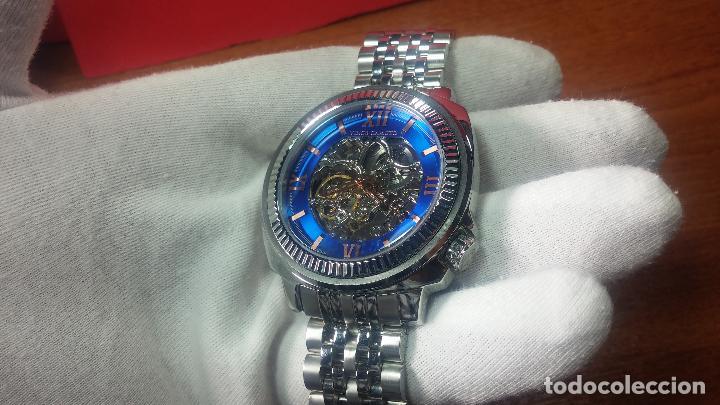 Relojes automáticos: Reloj automático VINCE CAMUTO Skeleton de caballero, preciosa esfera azul marino, de reestreno. - Foto 7 - 108882983