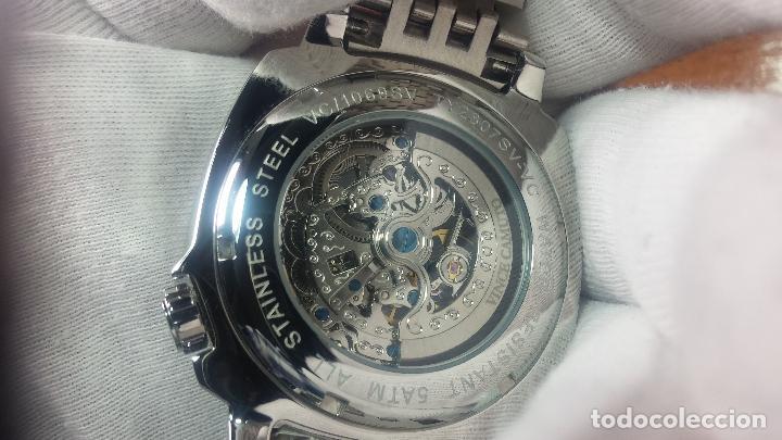 Relojes automáticos: Reloj automático VINCE CAMUTO Skeleton de caballero, preciosa esfera azul marino, de reestreno. - Foto 19 - 108882983