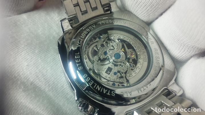 Relojes automáticos: Reloj automático VINCE CAMUTO Skeleton de caballero, preciosa esfera azul marino, de reestreno. - Foto 20 - 108882983