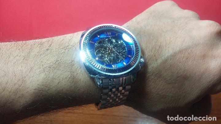 Relojes automáticos: Reloj automático VINCE CAMUTO Skeleton de caballero, preciosa esfera azul marino, de reestreno. - Foto 25 - 108882983