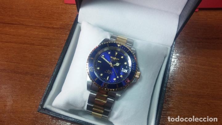 Relojes automáticos: Reloj automático de caballero Submarine INVICTA, esfera azul, como nuevo, muy bonito - Foto 2 - 111530419