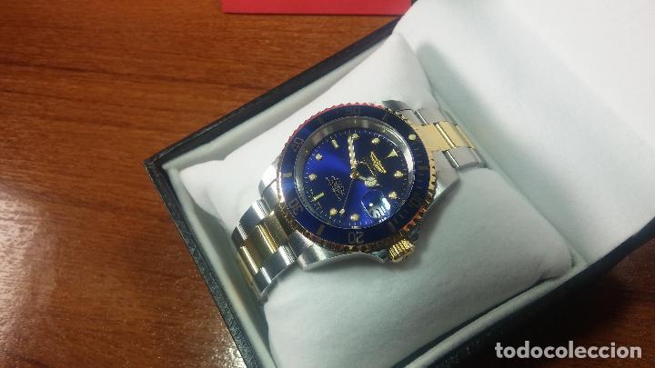 Relojes automáticos: Reloj automático de caballero Submarine INVICTA, esfera azul, como nuevo, muy bonito - Foto 3 - 111530419