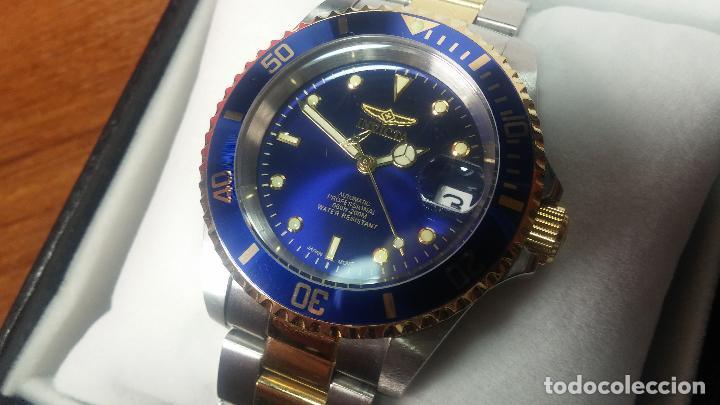 Relojes automáticos: Reloj automático de caballero Submarine INVICTA, esfera azul, como nuevo, muy bonito - Foto 4 - 111530419