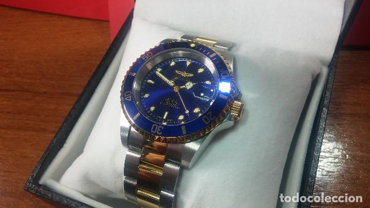 Relojes automáticos: Reloj automático de caballero Submarine INVICTA, esfera azul, como nuevo, muy bonito - Foto 6 - 111530419