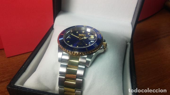 Relojes automáticos: Reloj automático de caballero Submarine INVICTA, esfera azul, como nuevo, muy bonito - Foto 7 - 111530419
