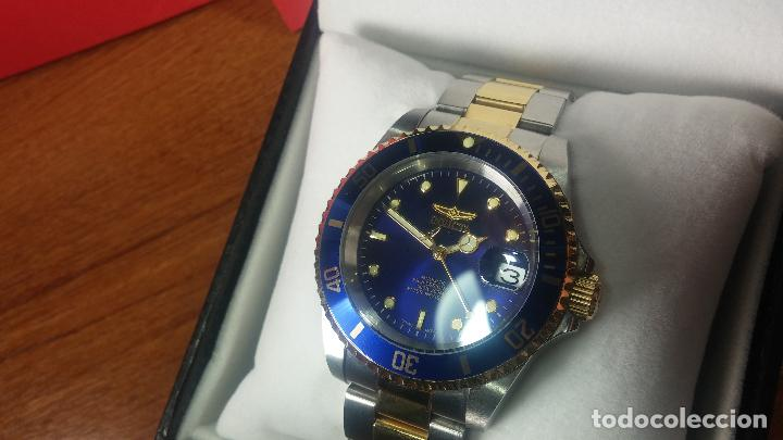 Relojes automáticos: Reloj automático de caballero Submarine INVICTA, esfera azul, como nuevo, muy bonito - Foto 10 - 111530419