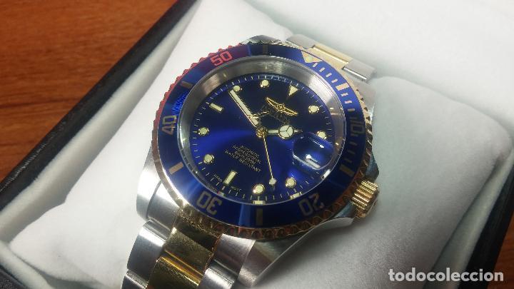 Relojes automáticos: Reloj automático de caballero Submarine INVICTA, esfera azul, como nuevo, muy bonito - Foto 11 - 111530419