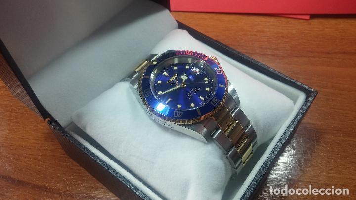 Relojes automáticos: Reloj automático de caballero Submarine INVICTA, esfera azul, como nuevo, muy bonito - Foto 12 - 111530419