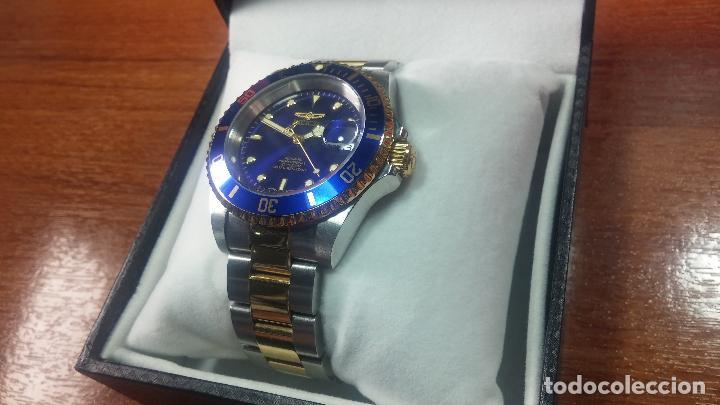 Relojes automáticos: Reloj automático de caballero Submarine INVICTA, esfera azul, como nuevo, muy bonito - Foto 17 - 111530419