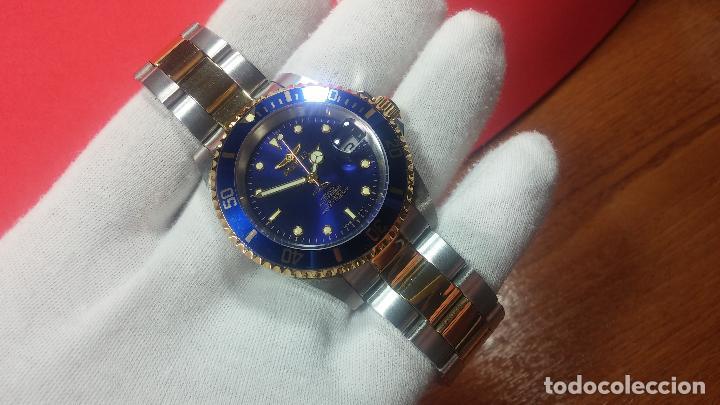 Relojes automáticos: Reloj automático de caballero Submarine INVICTA, esfera azul, como nuevo, muy bonito - Foto 18 - 111530419