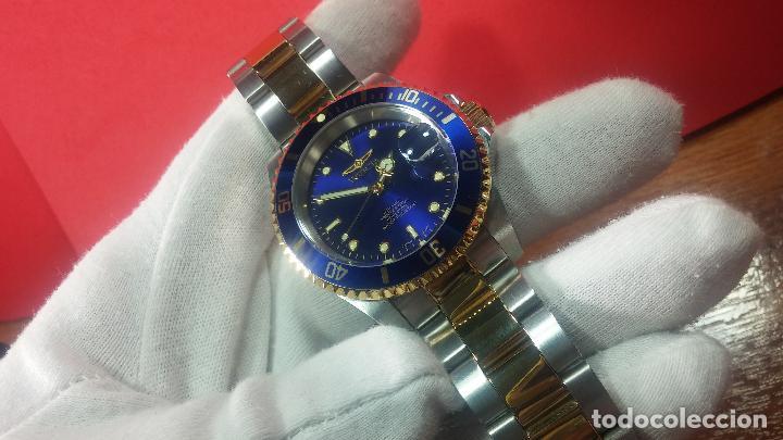 Relojes automáticos: Reloj automático de caballero Submarine INVICTA, esfera azul, como nuevo, muy bonito - Foto 19 - 111530419