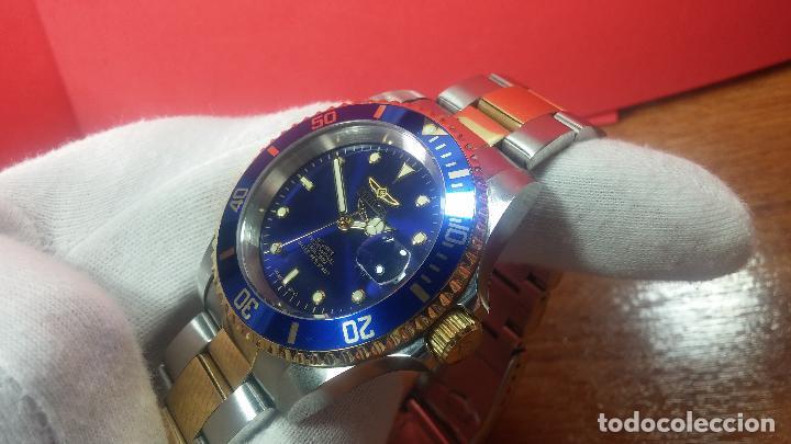 Relojes automáticos: Reloj automático de caballero Submarine INVICTA, esfera azul, como nuevo, muy bonito - Foto 21 - 111530419