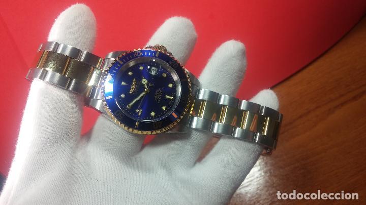Relojes automáticos: Reloj automático de caballero Submarine INVICTA, esfera azul, como nuevo, muy bonito - Foto 22 - 111530419