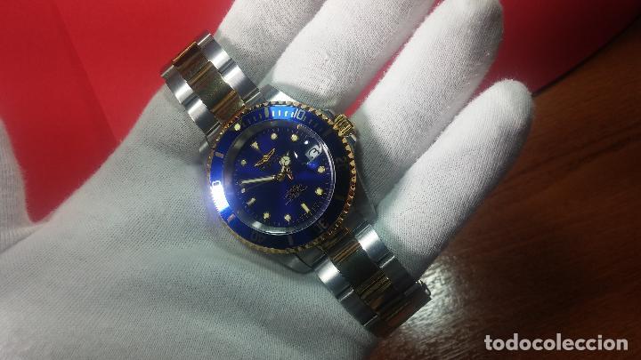 Relojes automáticos: Reloj automático de caballero Submarine INVICTA, esfera azul, como nuevo, muy bonito - Foto 23 - 111530419