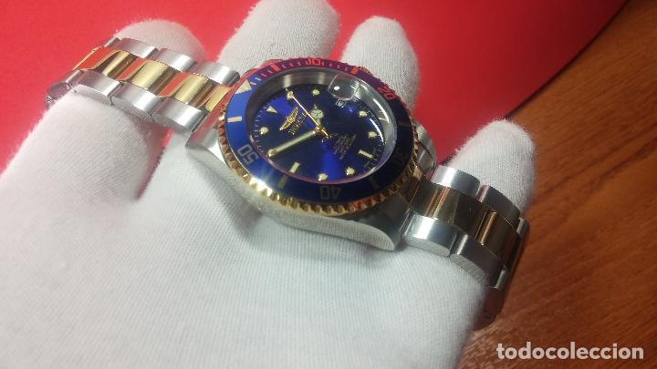 Relojes automáticos: Reloj automático de caballero Submarine INVICTA, esfera azul, como nuevo, muy bonito - Foto 24 - 111530419