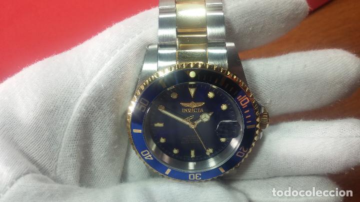 Relojes automáticos: Reloj automático de caballero Submarine INVICTA, esfera azul, como nuevo, muy bonito - Foto 25 - 111530419