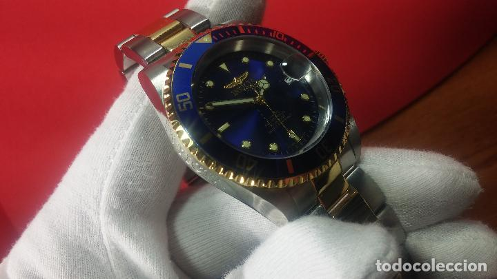 Relojes automáticos: Reloj automático de caballero Submarine INVICTA, esfera azul, como nuevo, muy bonito - Foto 28 - 111530419