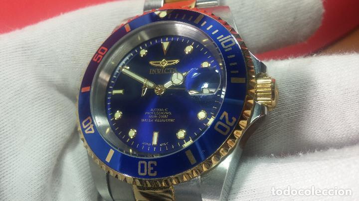 Relojes automáticos: Reloj automático de caballero Submarine INVICTA, esfera azul, como nuevo, muy bonito - Foto 29 - 111530419