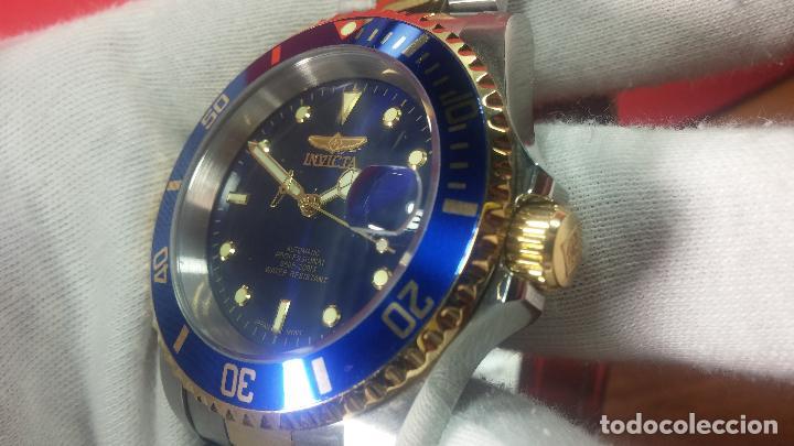 Relojes automáticos: Reloj automático de caballero Submarine INVICTA, esfera azul, como nuevo, muy bonito - Foto 30 - 111530419