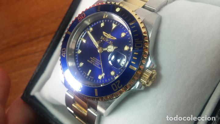 Relojes automáticos: Reloj automático de caballero Submarine INVICTA, esfera azul, como nuevo, muy bonito - Foto 32 - 111530419