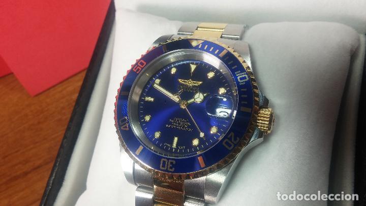 Relojes automáticos: Reloj automático de caballero Submarine INVICTA, esfera azul, como nuevo, muy bonito - Foto 34 - 111530419