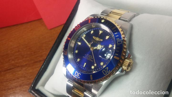 Relojes automáticos: Reloj automático de caballero Submarine INVICTA, esfera azul, como nuevo, muy bonito - Foto 36 - 111530419