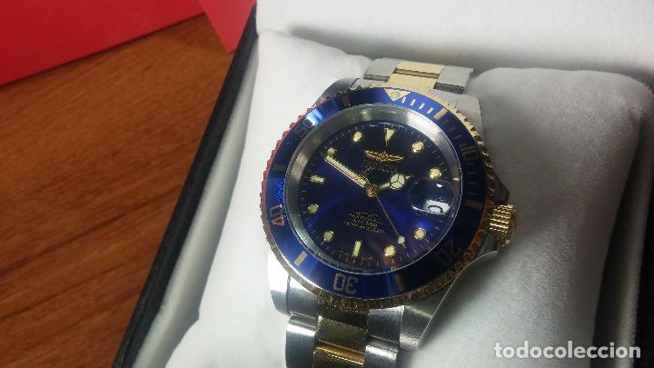 Relojes automáticos: Reloj automático de caballero Submarine INVICTA, esfera azul, como nuevo, muy bonito - Foto 37 - 111530419