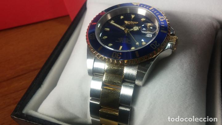 Relojes automáticos: Reloj automático de caballero Submarine INVICTA, esfera azul, como nuevo, muy bonito - Foto 38 - 111530419