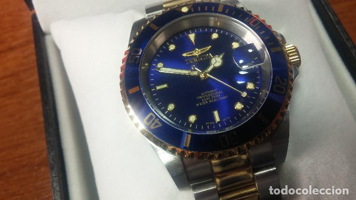 Relojes automáticos: Reloj automático de caballero Submarine INVICTA, esfera azul, como nuevo, muy bonito - Foto 39 - 111530419