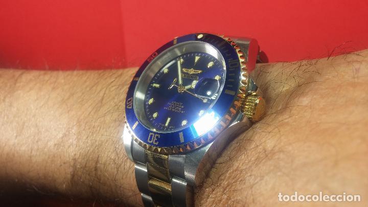 Relojes automáticos: Reloj automático de caballero Submarine INVICTA, esfera azul, como nuevo, muy bonito - Foto 44 - 111530419