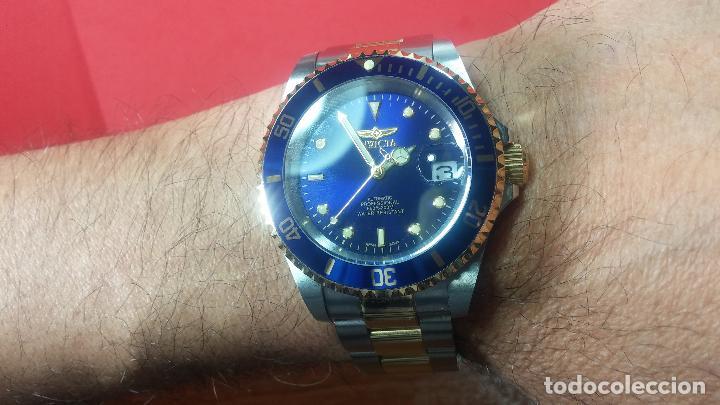 Relojes automáticos: Reloj automático de caballero Submarine INVICTA, esfera azul, como nuevo, muy bonito - Foto 49 - 111530419