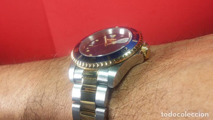 Relojes automáticos: Reloj automático de caballero Submarine INVICTA, esfera azul, como nuevo, muy bonito - Foto 50 - 111530419