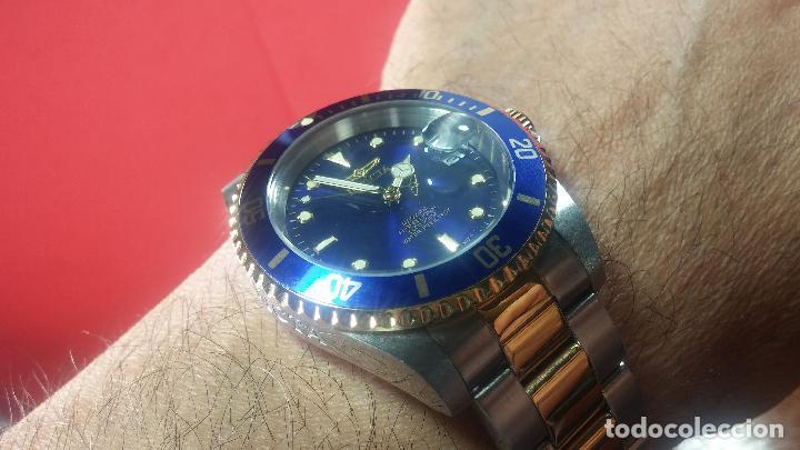 Relojes automáticos: Reloj automático de caballero Submarine INVICTA, esfera azul, como nuevo, muy bonito - Foto 54 - 111530419
