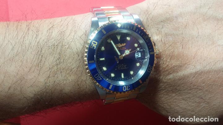 Relojes automáticos: Reloj automático de caballero Submarine INVICTA, esfera azul, como nuevo, muy bonito - Foto 60 - 111530419