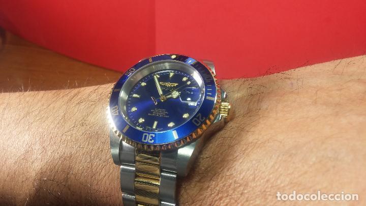 Relojes automáticos: Reloj automático de caballero Submarine INVICTA, esfera azul, como nuevo, muy bonito - Foto 67 - 111530419