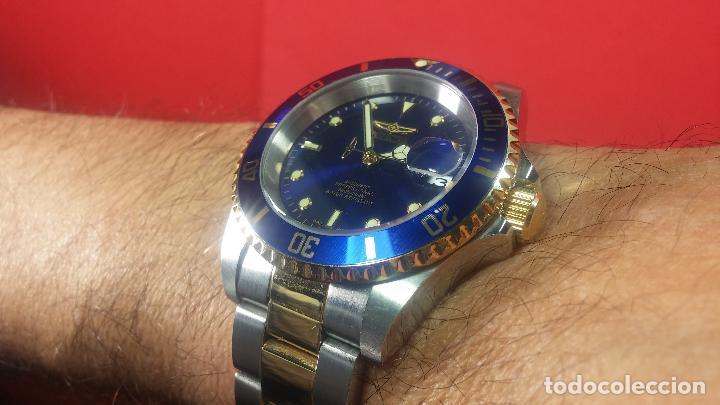 Relojes automáticos: Reloj automático de caballero Submarine INVICTA, esfera azul, como nuevo, muy bonito - Foto 68 - 111530419