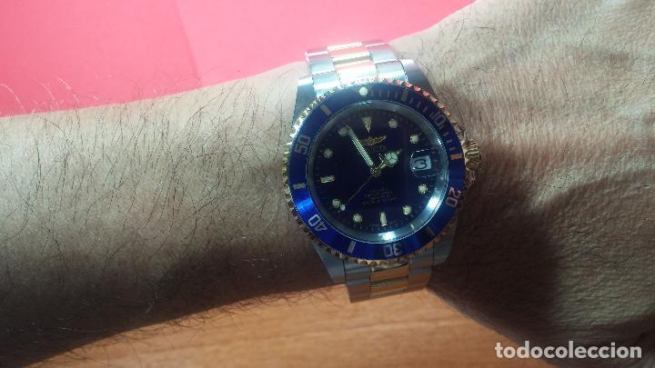 Relojes automáticos: Reloj automático de caballero Submarine INVICTA, esfera azul, como nuevo, muy bonito - Foto 69 - 111530419