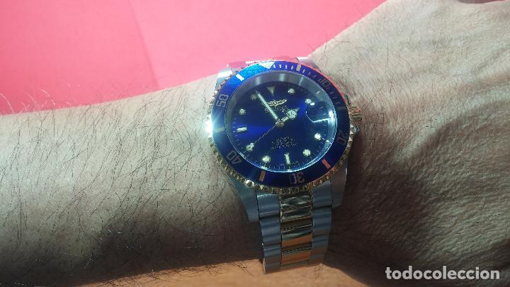 Relojes automáticos: Reloj automático de caballero Submarine INVICTA, esfera azul, como nuevo, muy bonito - Foto 70 - 111530419