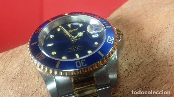 Relojes automáticos: Reloj automático de caballero Submarine INVICTA, esfera azul, como nuevo, muy bonito - Foto 77 - 111530419