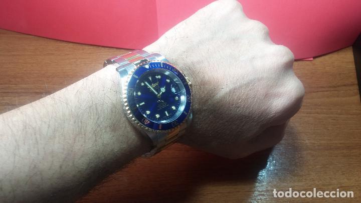 Relojes automáticos: Reloj automático de caballero Submarine INVICTA, esfera azul, como nuevo, muy bonito - Foto 80 - 111530419