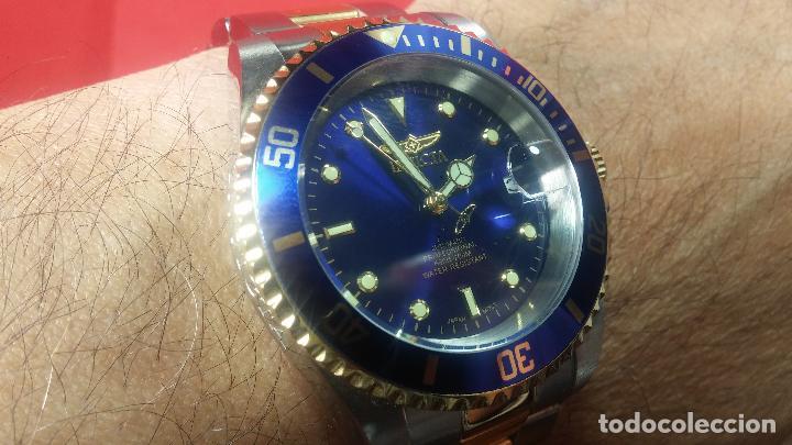 Relojes automáticos: Reloj automático de caballero Submarine INVICTA, esfera azul, como nuevo, muy bonito - Foto 83 - 111530419