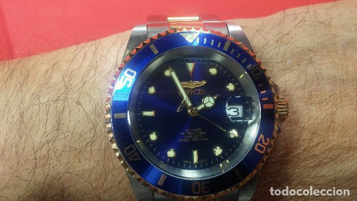 Relojes automáticos: Reloj automático de caballero Submarine INVICTA, esfera azul, como nuevo, muy bonito - Foto 86 - 111530419