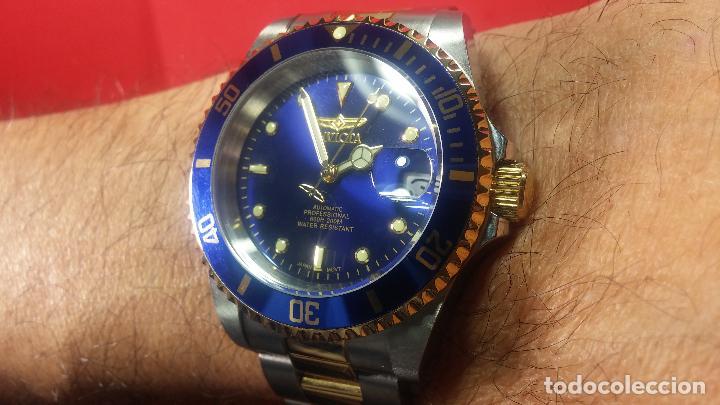 Relojes automáticos: Reloj automático de caballero Submarine INVICTA, esfera azul, como nuevo, muy bonito - Foto 87 - 111530419