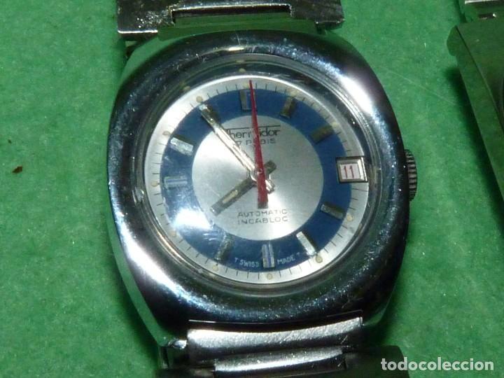 Relojes automáticos: CURIOSO LOTE RELOJ THERMIDOR AUTOMATICO Y CARGA MANUAL ANTIGUO 17 RUBIS FUNCIONANDO ORIGINAL AÑOS 70 - Foto 2 - 113428583
