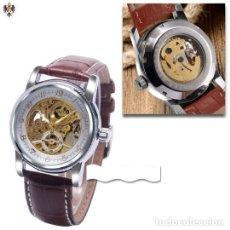 Relojes automáticos: RELOJ AUTOMATICO HOMBRE CAJA DE ACERO + CORREA CUERO. Lote 114467795