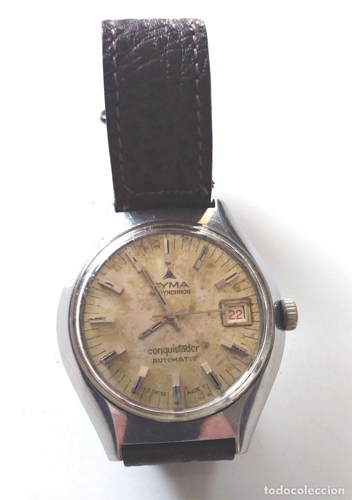 CYMA CONQUISTADOR BY SYNCHRON AUTOMÁTICO CALENDARIO, FUNCIONA. MED. 35 MM SIN CORONA (Relojes - Relojes Automáticos)