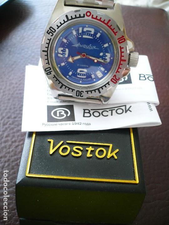 Relojes automáticos: VOSTOK -ANFIBIO- SUBMARINER URSS RUSIA EXTRA LUJO 31 RUBIES, AUTOMÁTICO CON SU ESTUCHE E INSTRUCCION - Foto 6 - 116599255