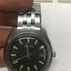 Relojes automáticos: RELOJ AUTOMATICO CITIZEN ESFERA NEGRA ANTIGUO FUNCIONA,ALGUNA RAYA EN CRISTAL. Lote 121966347