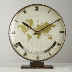 Relojes automáticos: RELOJ DE SOBREMESA LATÓN RETRO KIENZLE ALEMÁN SPACE AGE VINTAGE ART DECO MUNDO 60S. Lote 124488291